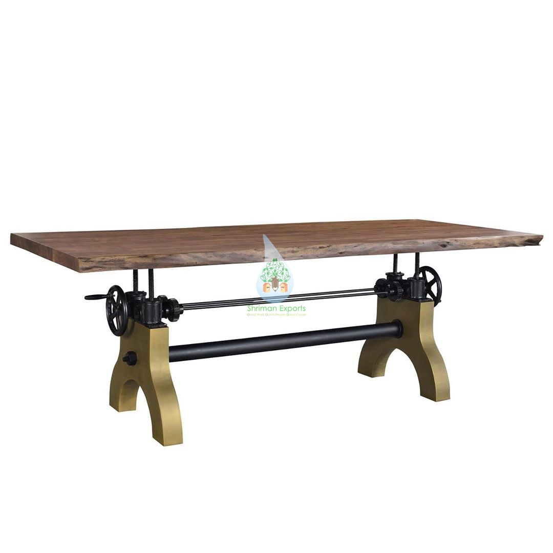 Picture of: Live Edge Industrial Crank Dining Table Height Adjustable Shriman Exports